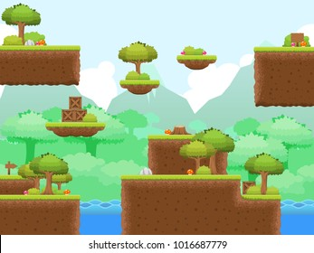 Collection of various tiles and objects with jungle theme for creating adventure video games