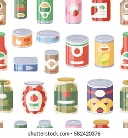Collection of various tins canned goods food metal container grocery store and product seamless pattern storage canned aluminum flat label conserve vector illustration.
