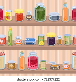 Collection of various tins canned goods food metal container product on shop shelf vector illustration.
