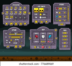 Collection of various user interface elements for creating zombie and halloween video games