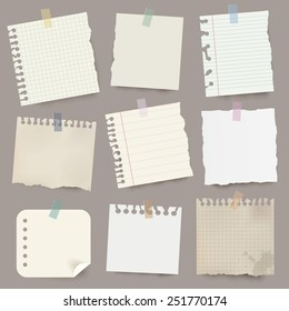 Collection of various vector note papers.