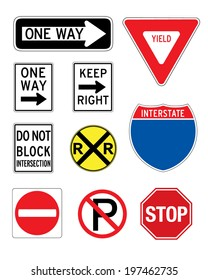 A collection of various vector road and traffic signs