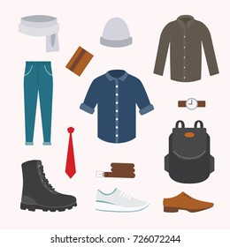 Collection of various wear and shoes for cold season. Men's autumn look. Clothing in flat style design