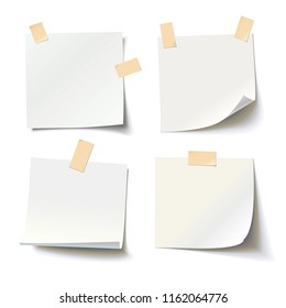 Collection of various white note papers with curled corner and adhesive tape, ready for your message. Vector illustration. Isolated on white background. Front view. Top view. Close up.