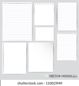 Collection of various white papers, ready for your message. Vector illustration.