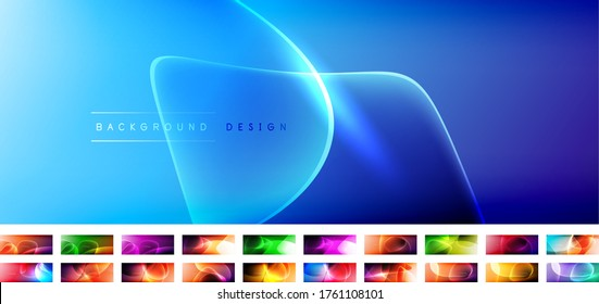 Collection of vector abstract backgrounds - liquid bubble shapes on fluid gradients with shadows and light effects. Shiny design template