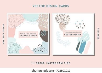 Collection of Vector Abstract Cards, Hand Painted Design Elements, Organic Shapes, Abstract Backgrounds
