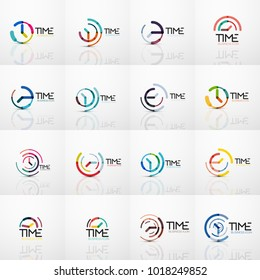 Collection of vector abstract logo ideas, time concepts or clock business icon set. Creative logotype design templates