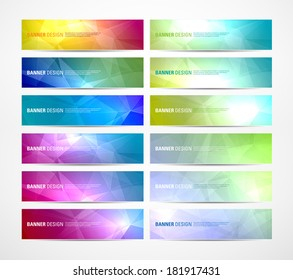 Collection of vector abstract polygonal banners