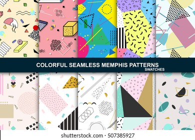 Collection of vector abstract seamless patterns with geometric shapes. Retro memphis style, fashion 80-90s.