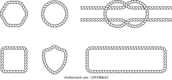 Collection of vector Badges made of a rope. Clean Rope Vector Badges