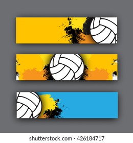 collection of vector banners volleyball theme. Volleyball ball on background. Beach  header for website or print