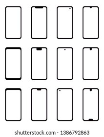 A collection of vector based modern mobile phone icons with different notches and transparent screens.