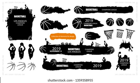 Collection of vector basketball. Sports elements for design banners, flyers, posters, grunge style, players, balls, backgrounds. Ink splatters. Painted objects.