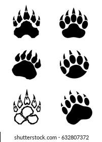 A collection of vector bear paws