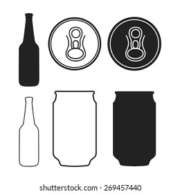 A Collection of Vector Beer Related Illustrations with a Bottle and a Can.