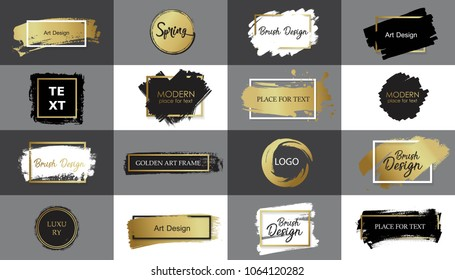Collection of Vector black, white and gold  paint, ink brush stroke, line or texture with frame. Dirty artistic design element, box or background for text.