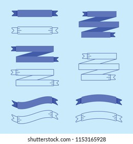A collection of vector blue ribbons with solid and outline styles.