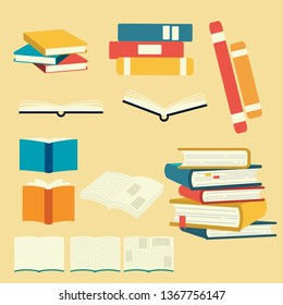 Collection of vector book set. pile of book. open and close the book.study by my self.element of book. cover page. novel. flat design.text on paper.in the library.cute flat vector style