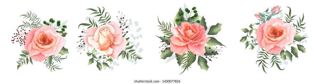 Collection of vector bouquets with roses. Pink roses, eucalyptus, berries, green plants. All elements are isolated.