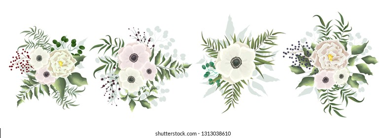 Collection of vector bouquets of white roses and anemones. Green plants, leaves, berries, flowers. All elements are isolated.