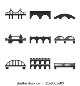Collection of vector bridges icons for web, print, mobile apps design