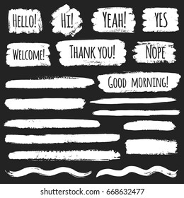 Collection of vector brush or chalk drawn strokes with greetings, different shapes. Set of various graphic elements. Line, underline, wave, stripe, rectangle, text background with rough edges.