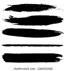 Collection of vector brush strokes dry