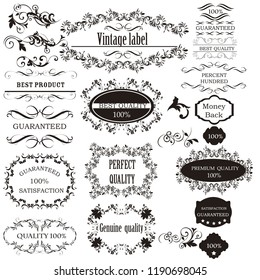 Collection of vector calligraphic elements for design