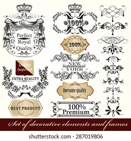 Collection of vector calligraphic frames and design element in Victorian vintage style