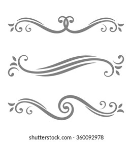 Collection of vector calligraphic lines ornaments or dividers. Retro style