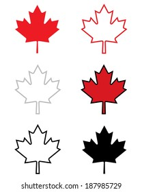 A collection of vector Canadian maple leaf icons