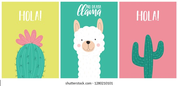 Collection of vector cards with a cute white llama or alpaca and  a cactus. Illustration on South American theme for children, cards, invitation, print, textiles, baby shower, posters, interior.
