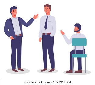 Collection of vector cartoon characters. Executive businessmen talking, gesturing, waving hands. Business meeting. Young man sitting at chair. Set of office workers communicating, isolated at white