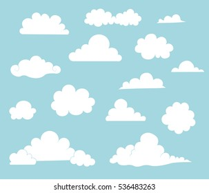 Collection Of Vector Cartoon Clouds