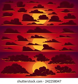 Collection of vector cartoon clouds in sunset colors with red sky and sun