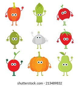 Collection of vector cartoon fruit and vegetables. Cartoon fruit & vegetable characters set: paprika, asparagus, radish, olive, garlic, strawberry, cherry, pumpkin, pear. Cute kawaii food characters.