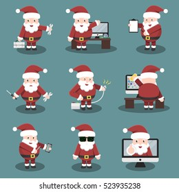 Collection of vector cartoon Santa Claus character in repair, computer marketing and online support service. Concept of Happy New Year and Christmas.