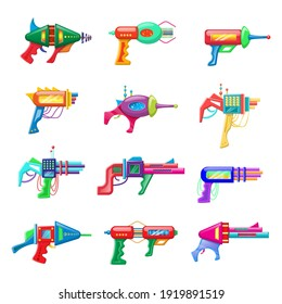 Collection of vector cartoon style flat illustration of futuristic colorful blasters isolated on white background.