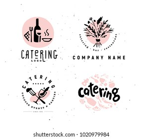 Collection of vector catering and restaurant company logo set isolated on white background. Hand drawn wine elements, dish icons. Perfect for restaurant, cafe, catering bars insignia banners, symbols.