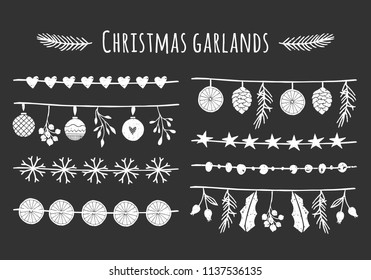Collection of vector Christmas garlands. Decorative hand drawn elements. Seasonal isolated dividers.