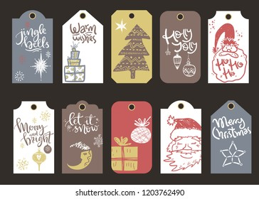 Collection of vector Christmas and New Year cute ready-to-use gift tags. Retro design. Lettering, Santa, gift box, tree, star.