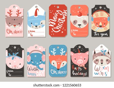 Collection of vector Christmas and New Year cute ready-to-use gift tags.Cute tiny animals. Lettering, cat, bear, panda, lion, pig, raccoon, fox, elephant rabbit