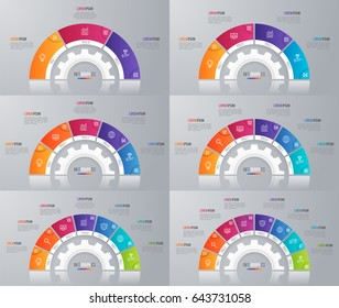 Collection of vector circle chart templates for infographics with 3-8 options.