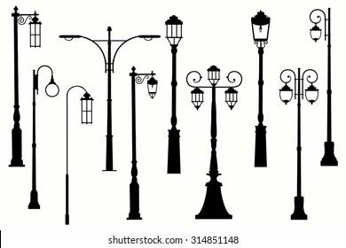 Collection vector city street lanterns.