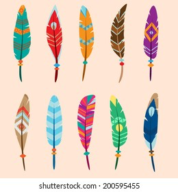 collection of vector colored feathers