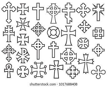 collection of vector crosses