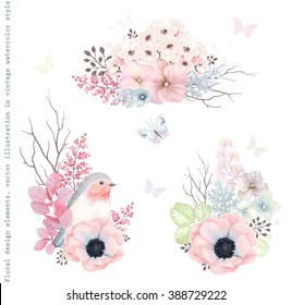 Collection vector decorative design of flowers, Robin bird and leaves in vintage style with butterflies.