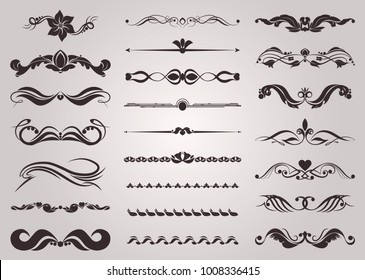 Collection of vector decorative elements for the design of pages