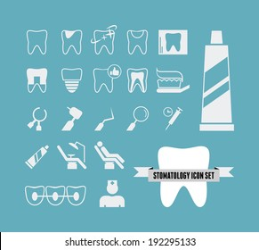 Collection of vector dental infographic elements. Flat design vector icons: tooth, toothbrush, dental care, receiving the dentist, dentist, dental x-ray, dental implant, dental instruments, braces